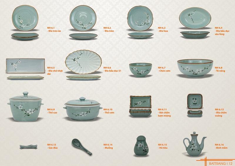 Chi tiết sản phẩm bộ bàn ăn men xanh vẽ hoa trắng