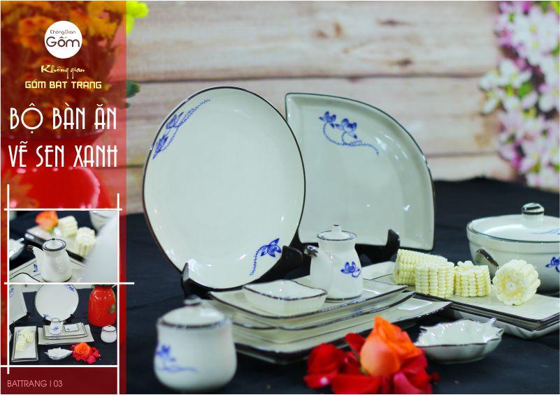 Bộ bàn ăn vẽ sen xanh thuộc dòng bát đĩa Bát Tràng