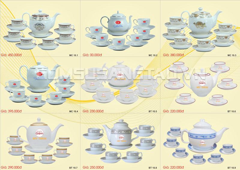 bộ ấm chén uống trà in logo