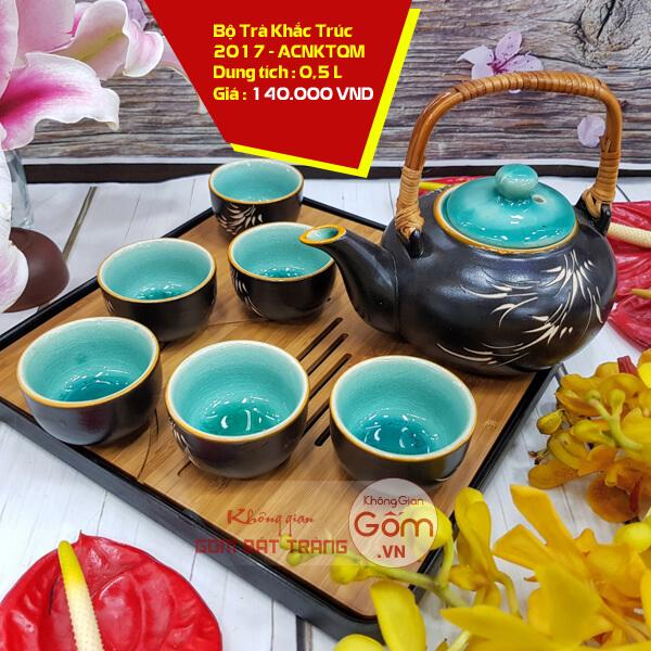 Bộ ấm trà Men Gốm quai tre vẽ Tre tráng men xanh Bát Tràng cao cấp
