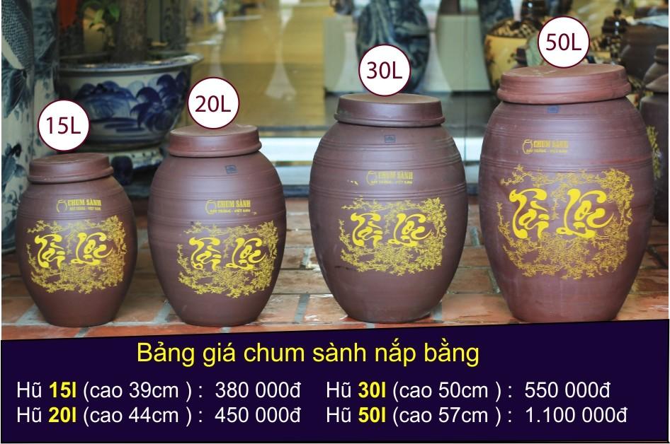 Bảng giá hũ gạo Tài Lộc - Hũ gạo nắp bằng