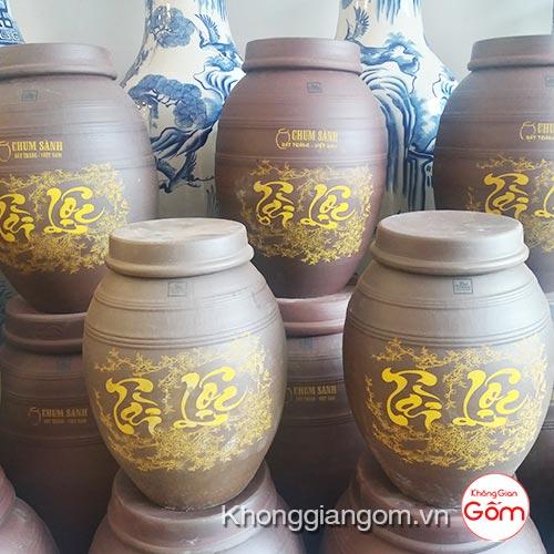 Bình ngâm hạ thổ rượu Tài Lộc - Chum sành đất nung không tráng men
