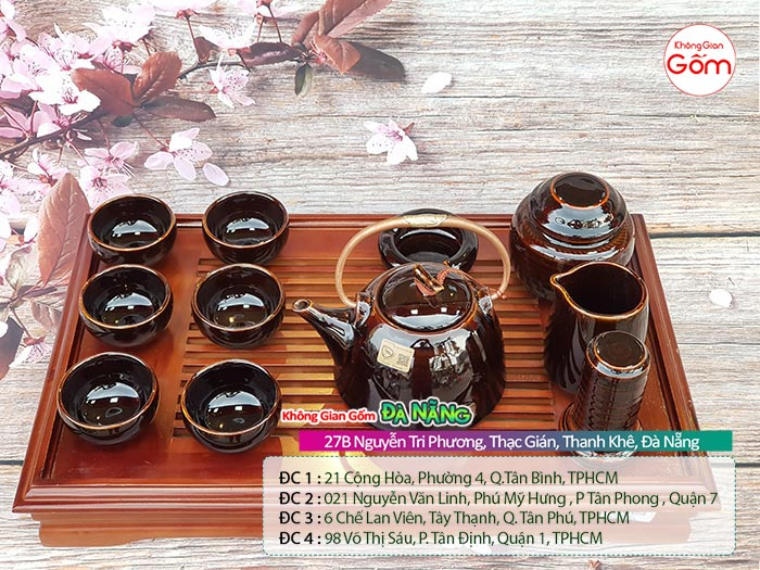 Bộ ấm trà gốm sứ Bát Tràng cao cấp [mẫu mới]│Không Gian Gốm
