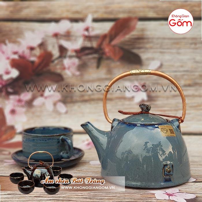 Ấm trà gốm sứ Bát Tràng cao cấp [mẫu mới] │ Không Gian Gốm