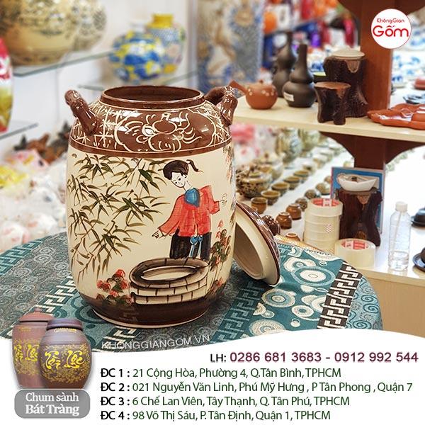 Chum rượu bằng sứ Bát Tràng 20l- Hũ gạo Tài Lộc men nâu CHÍNH GỐC