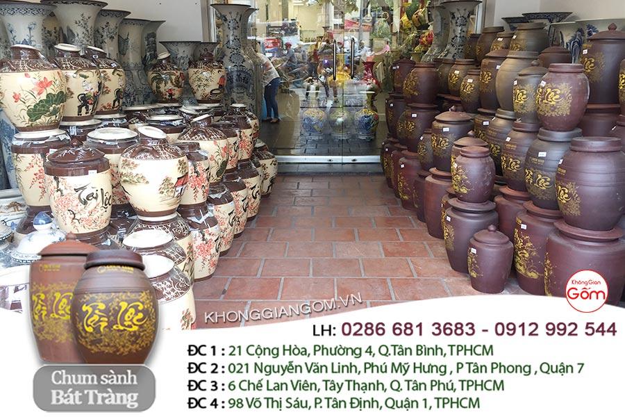 Chum rượu bằng sứ Bát Tràng - Hũ gạo Tài Lộc men nâu CHÍNH GỐC