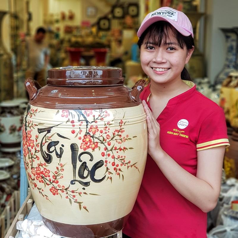 Hũ đựng gạo,chum rượu Tài Lộc gốm sứ Bát Tràng tại Quận 1