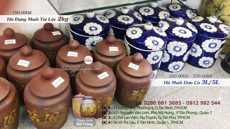 Hũ đựng gạo muối Tài Lộc 2kg bằng gốm sứ Bát Tràng