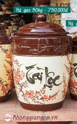 Hũ gạo gốm sứTài Lộc Bát Tràng tại Tphcm 30kg