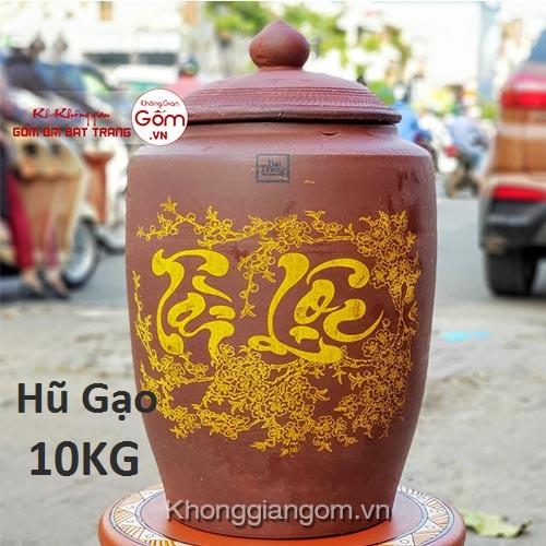 Hũ gạo tài lộc gốm sứ 10KG - Chum gạo Bát Tràng Tphcm