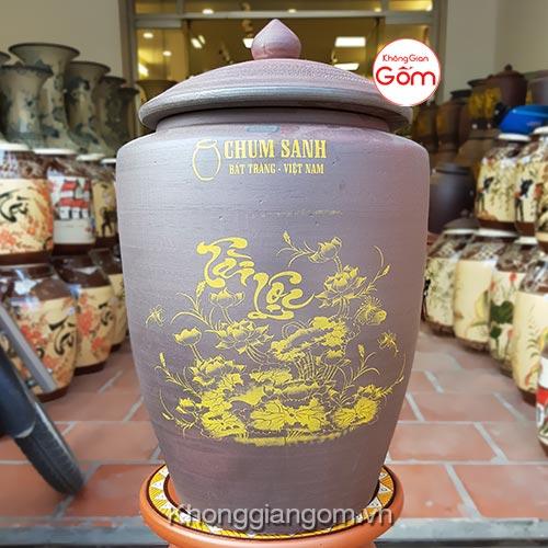 Hũ gạo tài lộc gốm sứ 25KG - Chum gạo Bát Tràng Tphcm
