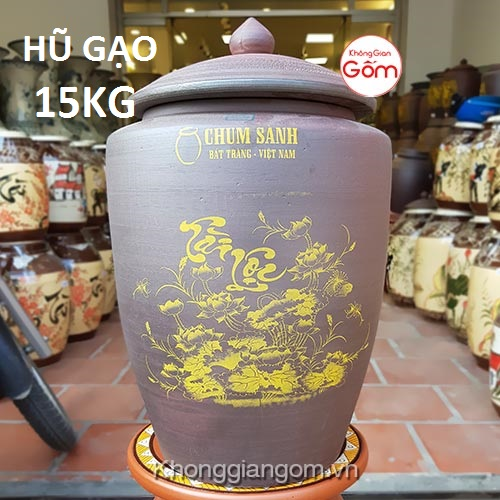 Hũ gạo tài lộc gốm sứ 15KG - Chum gạo Bát Tràng Tphcm