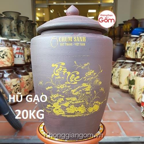 Hũ gạo tài lộc gốm sứ 20KG - Chum gạo Bát Tràng Tphcm