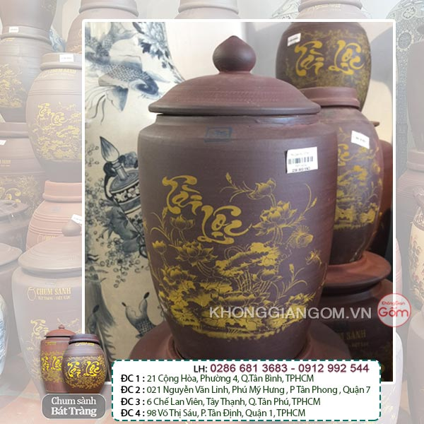 Hũ gạo tài lộc gốm sứ 5KG - Chum gạo Bát Tràng Tphcm