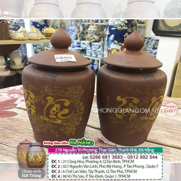 Hũ gạo Tài Lộc gốm sứ Bát Tràng tại Đà Nẵng - Hũ gạo gốm sứ không tráng men