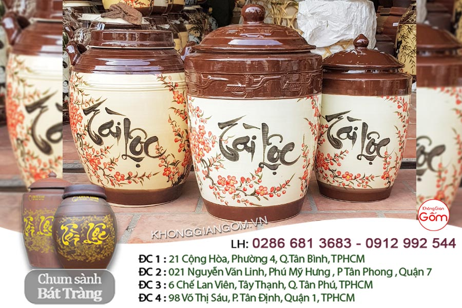 Hũ gạo gốm sứ Tài Lộc Bát Tràng tại Tphcm 20KG/30KG - CHÍNH GỐC