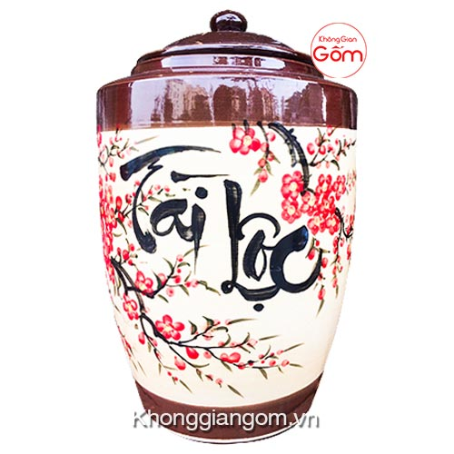 Hũ gạo Tài Lộc gốm sứ Bát Tràng tại Tphcm 15kg - CHÍNH GỐC