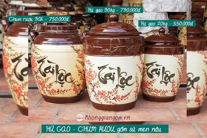 Hũ gạo Tài Lộc gốm sứ Bát Tràng tại Tphcm 20kg