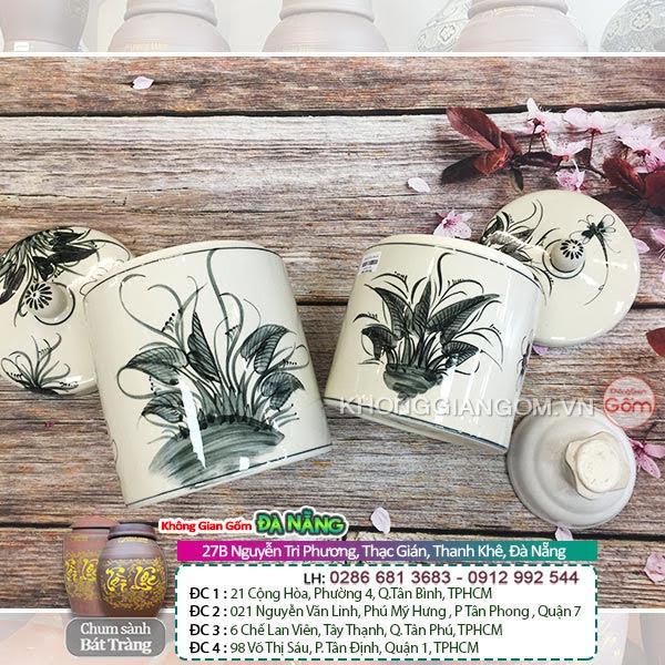 Hũ sứ muối dưa cà họa tiết lá cây - Hũ sứ muối dưa cà tại Đà Nẵng
