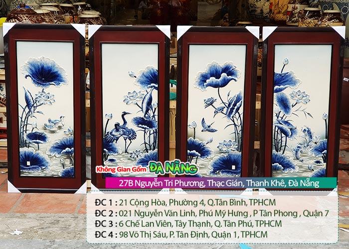 Tranh tứ quý phong thủy Đà Nẵng │Tranh gốm sứ Bát Tràng chính gốc