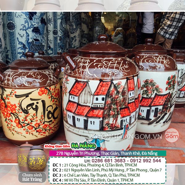 Các mẫu chum vò rượu gốm sứ Bát Tràng đẹp chất lượng tại Đà Nẵng