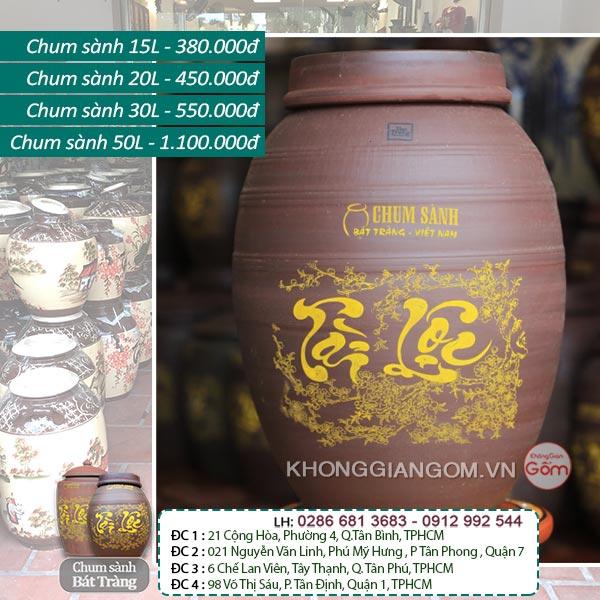 Vò rượu gốm sứ Bát Tràng TÀI LỘC - Chum Rượu Phong Thủy