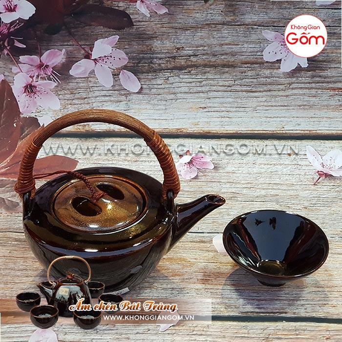 Bộ ấm tích uống trà cao cấp Bát Tràng quai mây│Không Gian Gốm