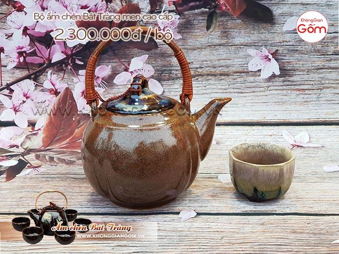 Bộ ấm chén uống trà Bát Tràng cao cấp quả đào chung bát giác