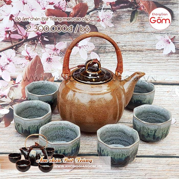 Bộ ấm chén trà Bát Tràng cao cấp chung thiên thanh│Không Gian Gốm
