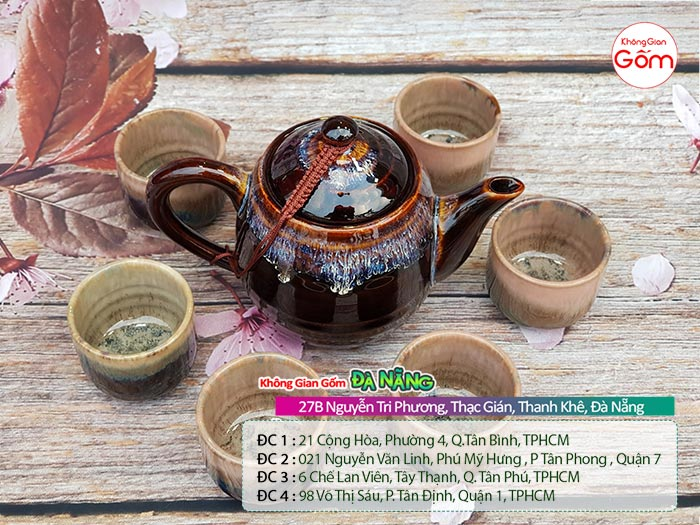 Bộ bình trà Bát Tràng cao cấp men trầm│Không Gian Gốm