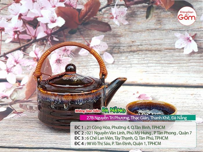 Bộ bình trà gốm sứ Bát Tràng cao cấp quai mây│Không Gian Gốm