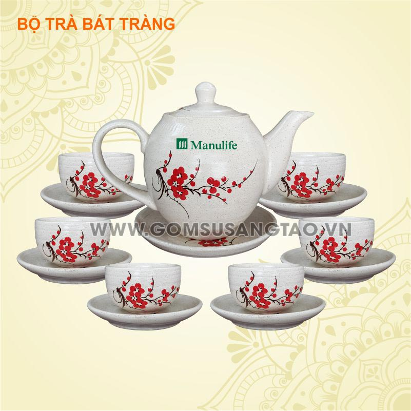 In hình logo ở Biên hòa - bộ ấm trà, ly sứ quà tặng doanh nghiệp