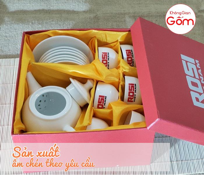 Công Ty sản xuất ấm chén in logo miễn phí hộp quà tặng tại Bình Dương